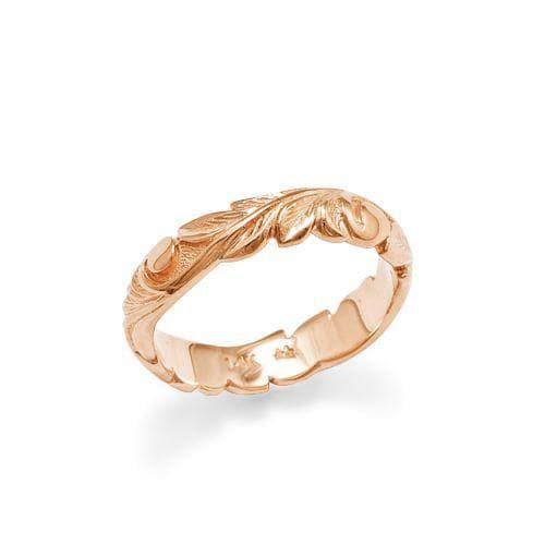 Hawaiian Heirloom Old English Scroll 4.5mm Ring in Rose Gold - Size 3-Maui Divers Jewelry