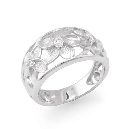 Plumeria Scroll 11mm Ring with Diamonds in 14K White Gold