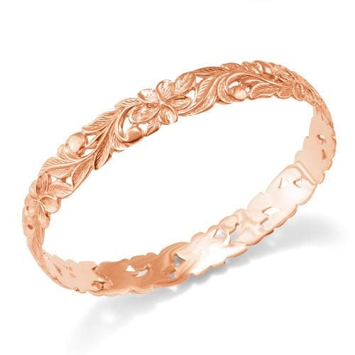 Plumeria Scroll 10mm Bracelet in 14K Rose Gold - Size 7.5
