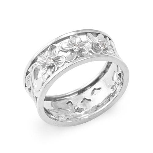 Plumeria Scroll 8mm Ring with Diamonds in 14K White Gold - Size 7 074-00315