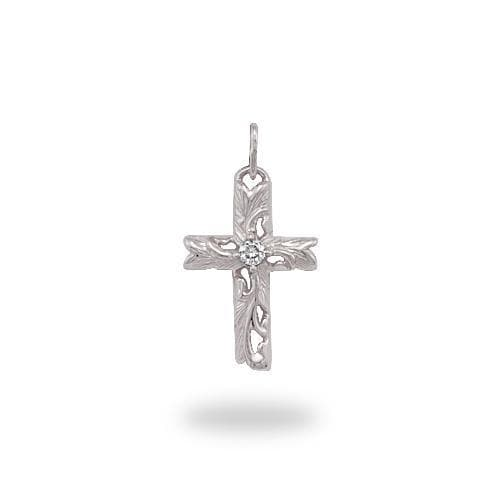 Hawaiian Heirloom Old English Scroll Cross Pendant with Diamond in 14K White Gold - Small-[SKU]