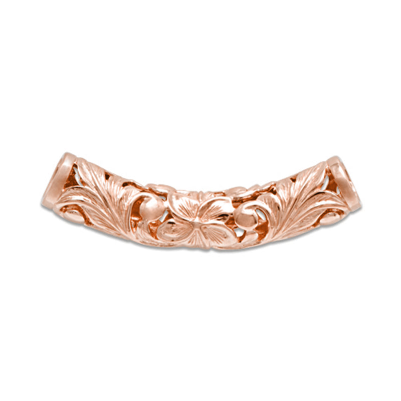 Plumeria Scroll Pendant in 14K Rose Gold - 7mm