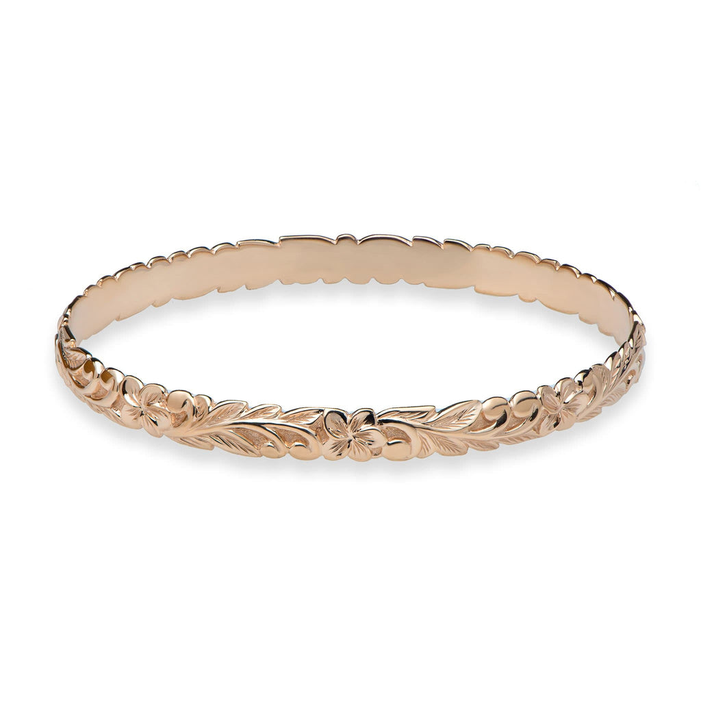 Hawaiian Heirloom Plumeria Scroll 6mm Heirloom Bracelet in 14K Rose Gold - Size 7.5 - Maui Divers Jewelry