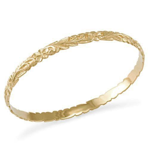 Plumeria Scroll 6mm Bracelet in 14K Yellow Gold - Size 8