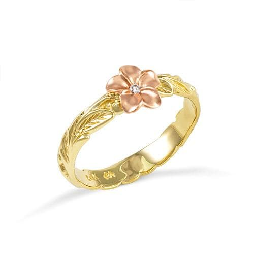 Old English Scroll with Plumeria 3mm Ring with Diamond in 14K Two-Tone Gold - Size 5