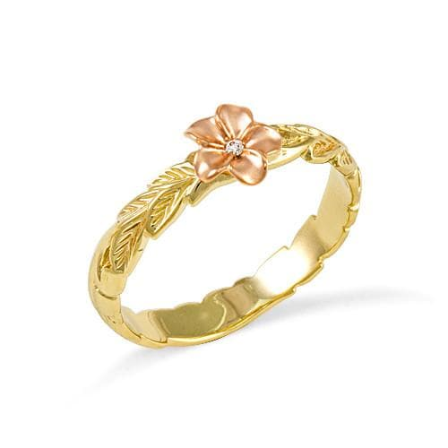 Old English Scroll with Plumeria 3mm Ring with Diamond in 14K Two-Tone Gold - Size 7