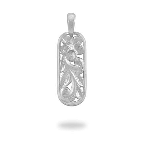Plumeria Scroll Pendant with Diamond in 14K White Gold