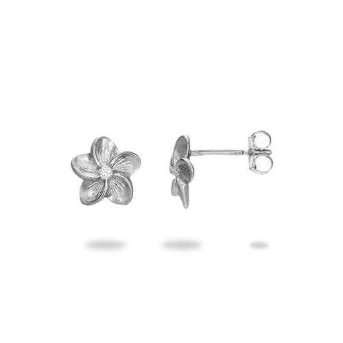 Plumeria Earrings with Diamonds in 14K Yellow and White Gold - 9mm 074-00539