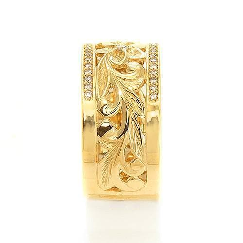 Hawaiian Heirloom Ring in Gold with Diamonds - 10mm-[SKU]