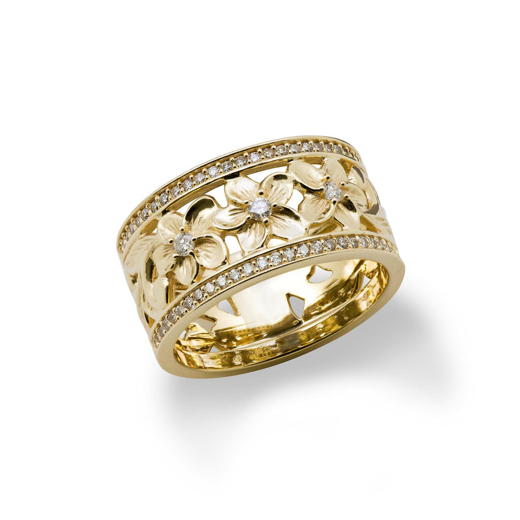 Hawaiian Heirloom Ring in Gold with Diamonds - 10mm