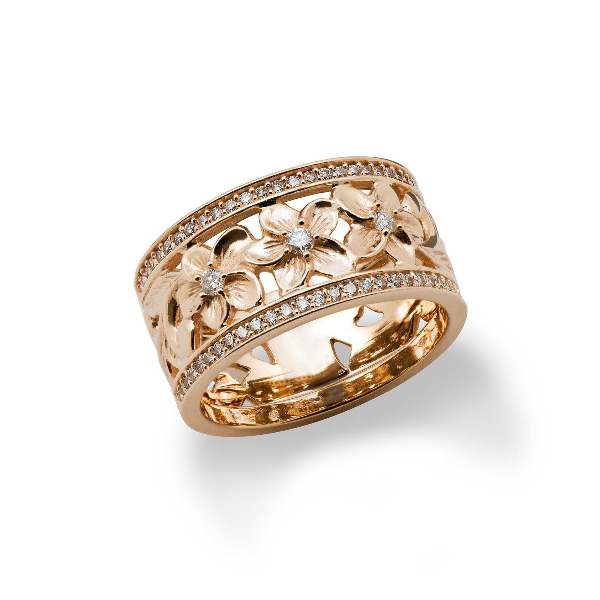 Hawaiian Heirloom Ring in Rose Gold with Diamonds - 10mm-[SKU]