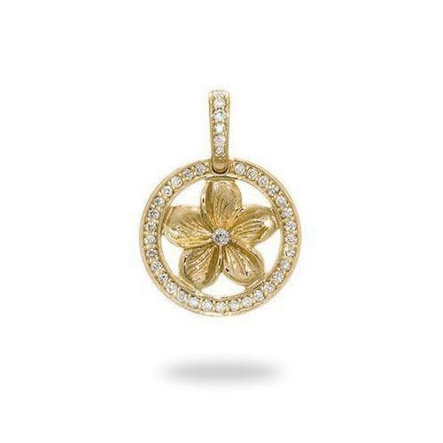 Plumeria Pendant in Gold with Diamonds - 9mm