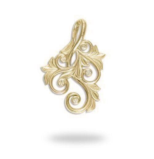 Living Heirloom Pendant with Diamonds in 14K Yellow Gold - 25mm 074-00584