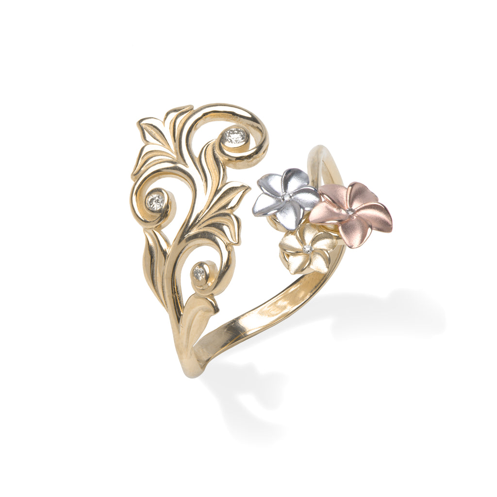 Living Heirloom Plumeria Scroll Ring with Diamonds in 14K Tri-Color Gold
