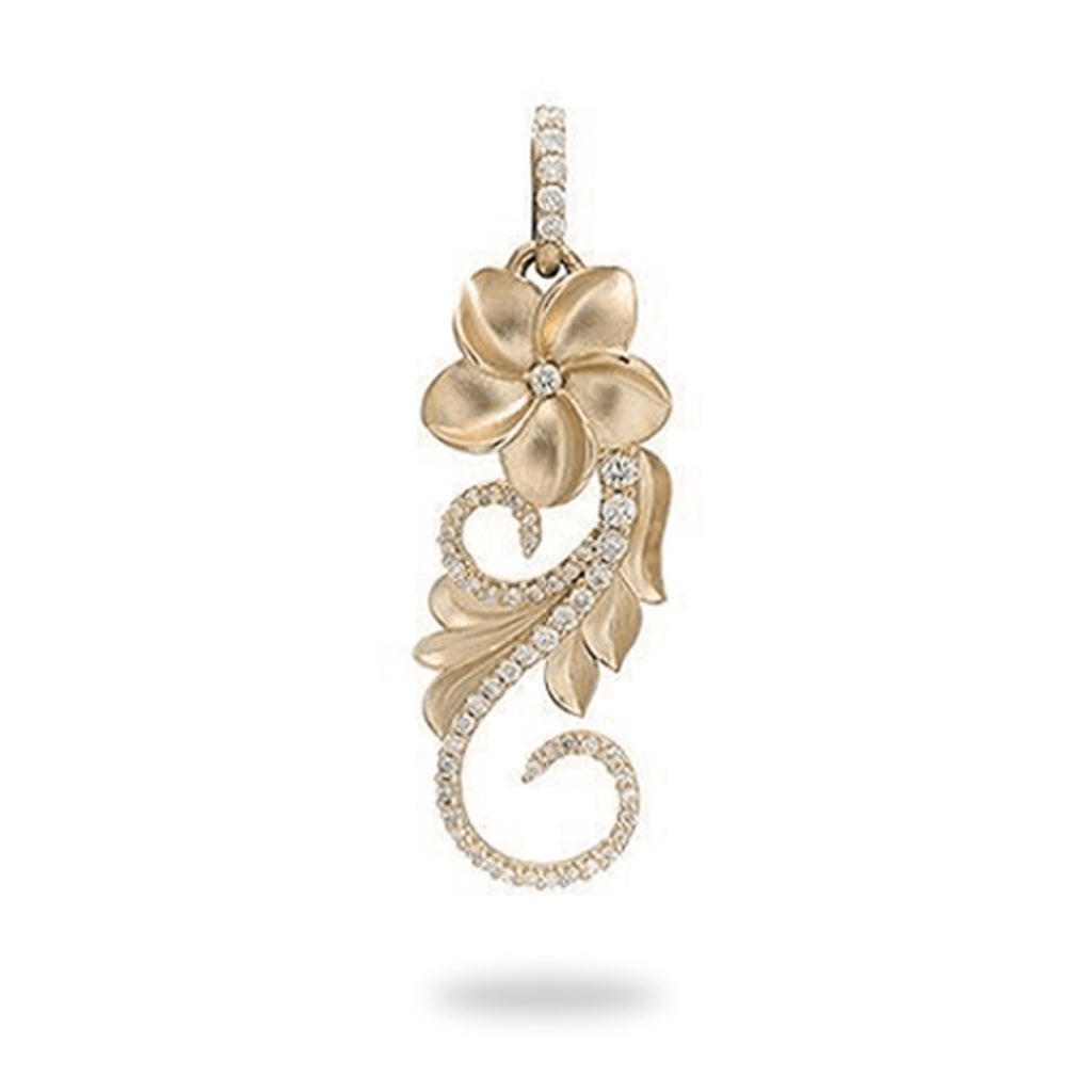 Plumeria Scroll Pendant with Diamonds in 14K Yellow Gold - 30mm 074-00608