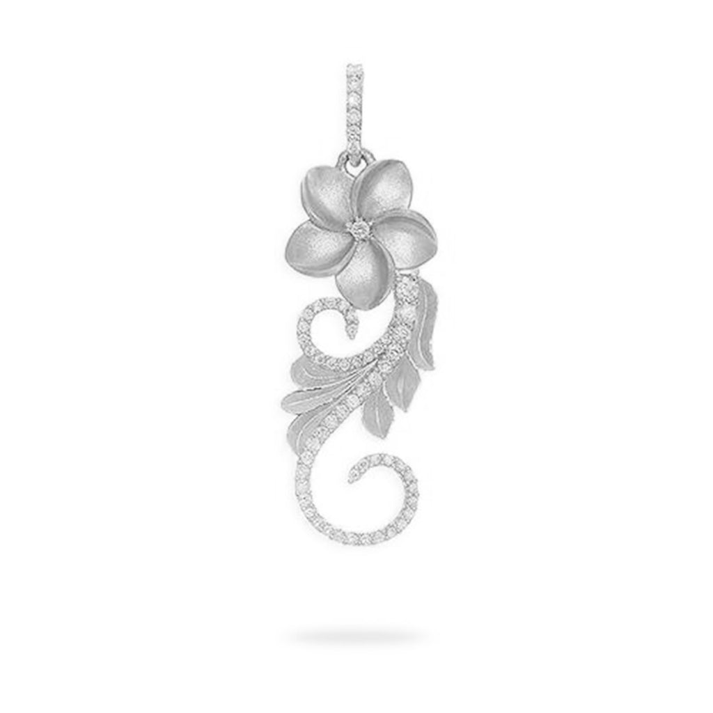 Plumeria Scroll Pendant with Diamonds in 14K White Gold - 30mm 074-00609