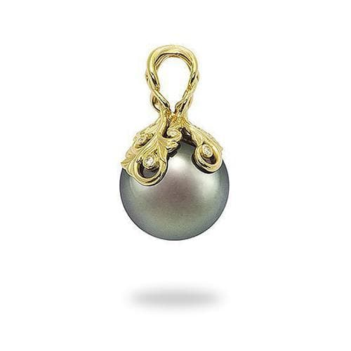Tahitian Black Pearl Pendant with Diamonds in 14K Yellow Gold (14-15mm) Overview 074-00612