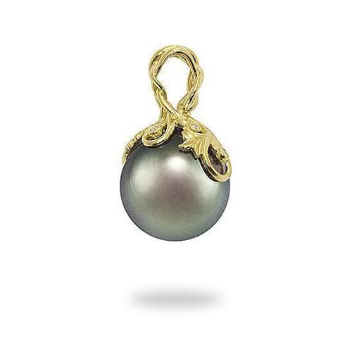 Tahitian Black Pearl Pendant with Diamonds in Gold (14-15mm)-Maui Divers Jewelry
