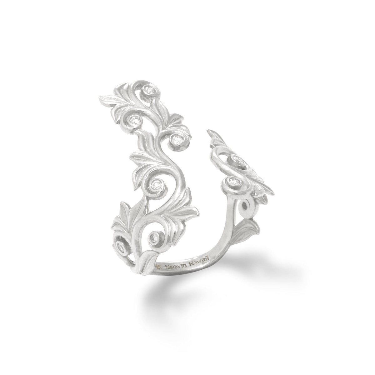 Hawaiian Heirloom Scroll Ring with Diamonds in 14K White Gold - 25mm074-00619