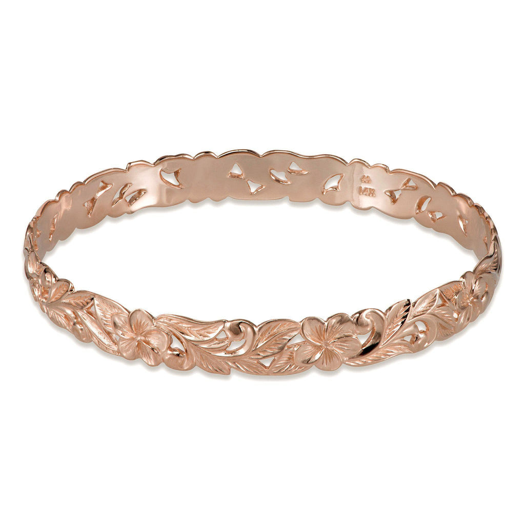 Hawaiian Heirloom Plumeria Scroll 8mm Heirloom Bracelet in 14K Rose Gold - Size 7.25-[SKU]