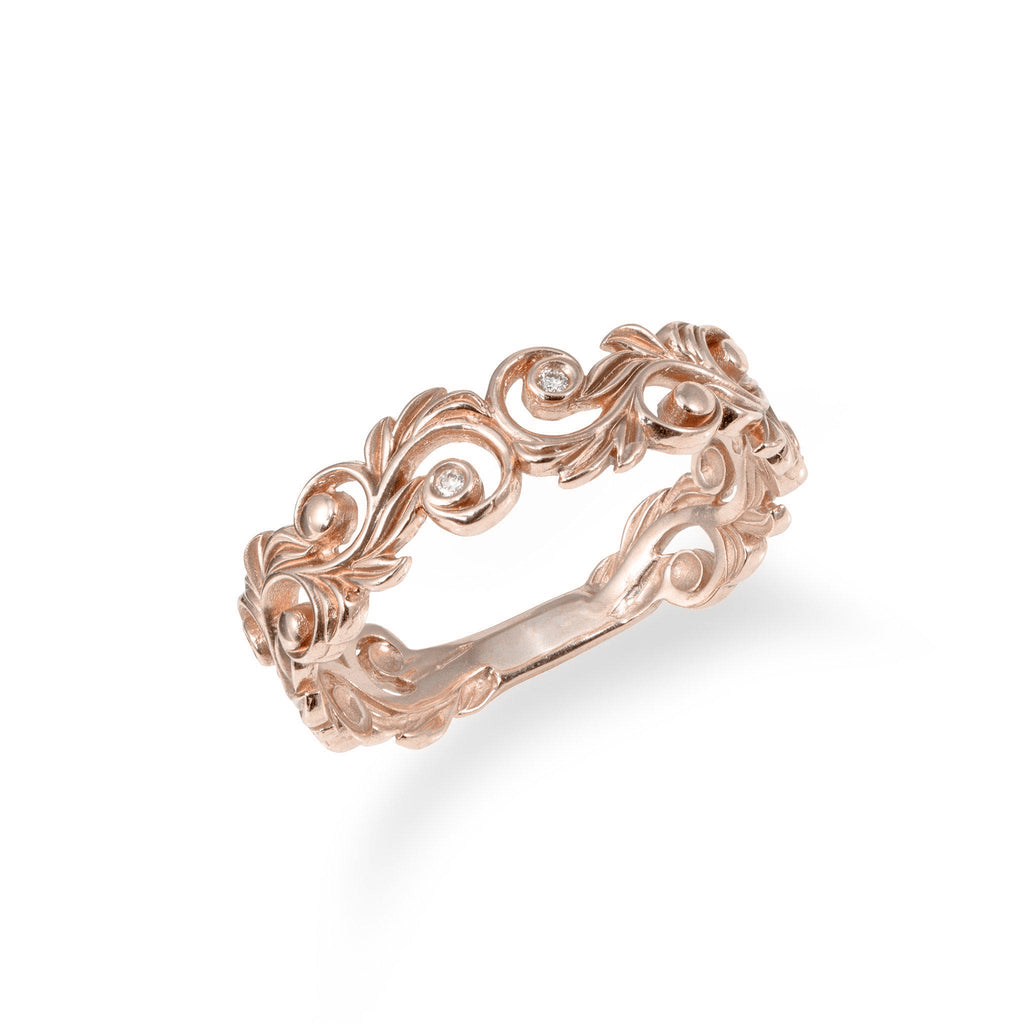 Living Heirloom Ring in Rose Gold with Diamonds - 6mm-[SKU]