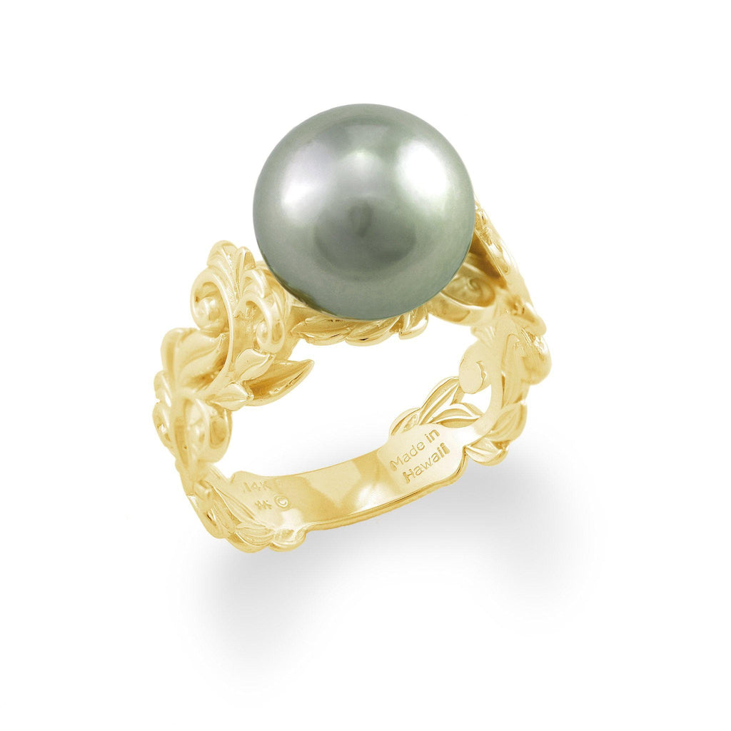 Hawaiian Heirloom Ring with Tahitian Black Pearl in 14K Yellow Gold 10-11mm