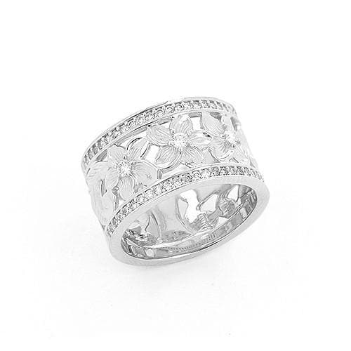 Plumeria Scroll 10mm Ring with Diamonds in 14K White Gold-Size 4-6 074-00675