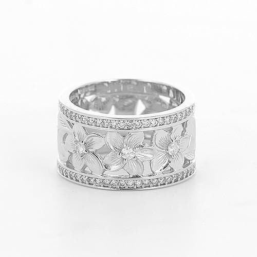 Plumeria Scroll 10mm Ring with Diamonds in 14K White Gold-Size 4-6 074-00675 Front