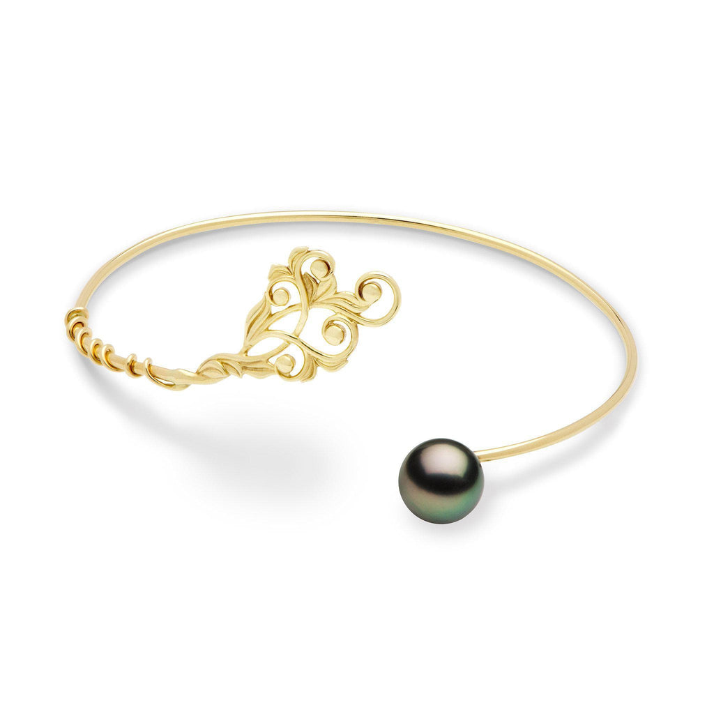 Hawaiian Heirloom Tahitian Black Pearl Bracelet in 14K Yellow Gold (8mm)-[SKU]