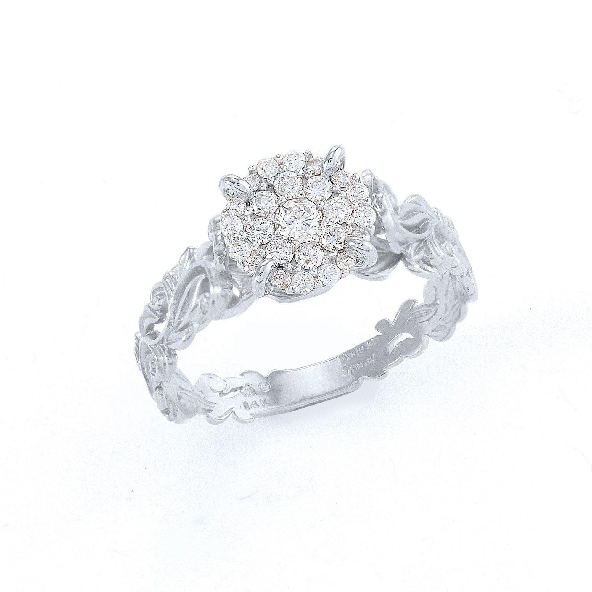 Hawaiian Heirloom Engagement Ring in White Gold with Diamonds-[SKU]