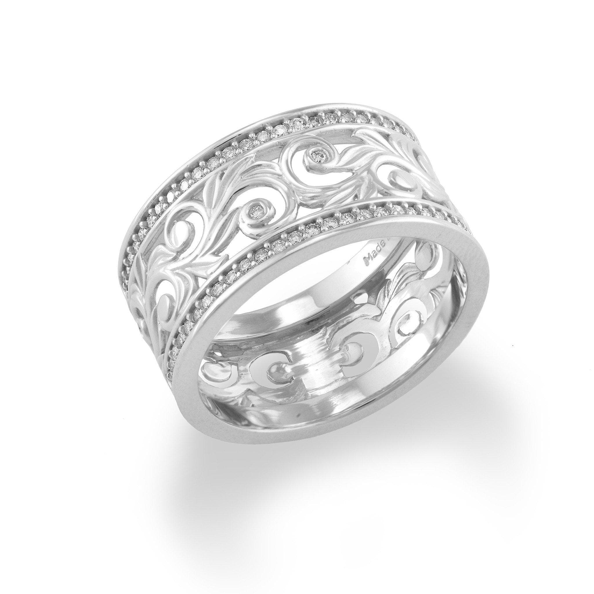 hawaiian heirloom scroll 10mm ring with diamonds in 14k white gold