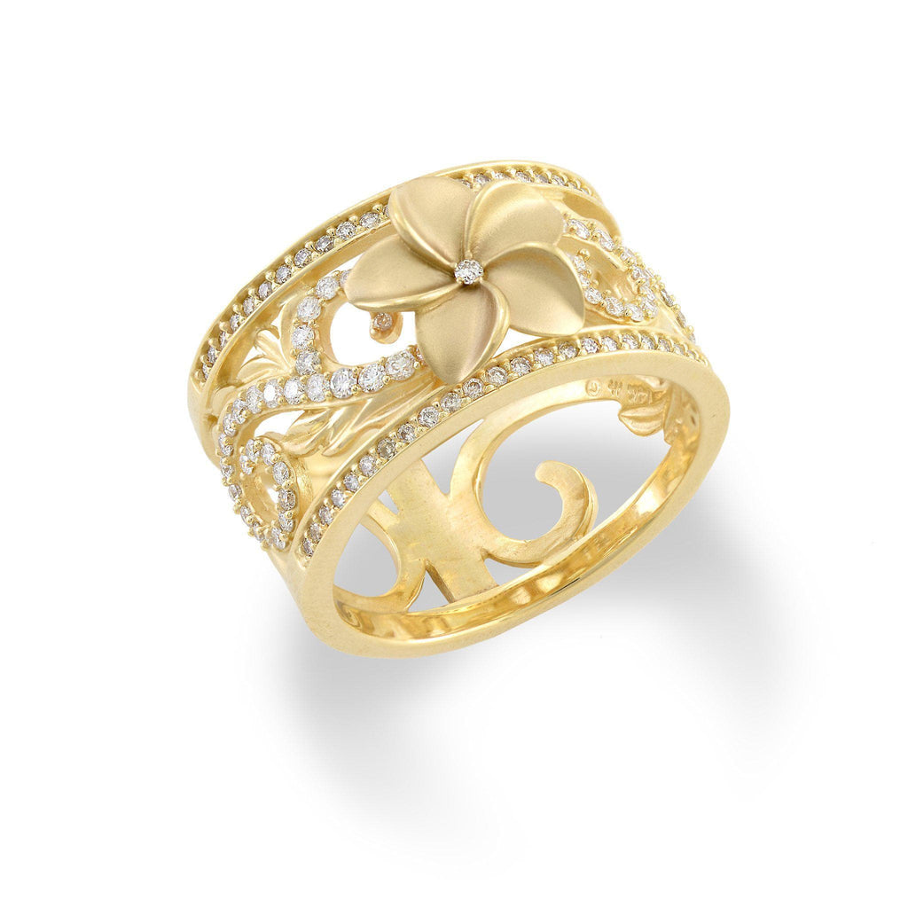 Hawaiian Heirloom Plumeria Scroll 12mm Ring with Diamonds in 14K Yellow Gold