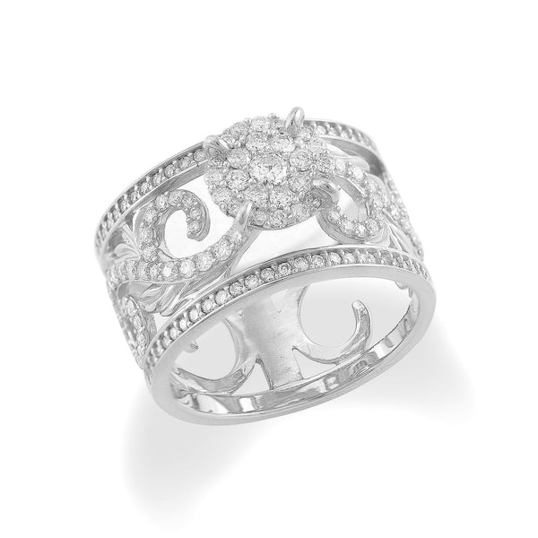 Hawaiian Heirloom Pave Scroll Ring with Diamonds in 14K White Gold - Maui Divers Jewelry