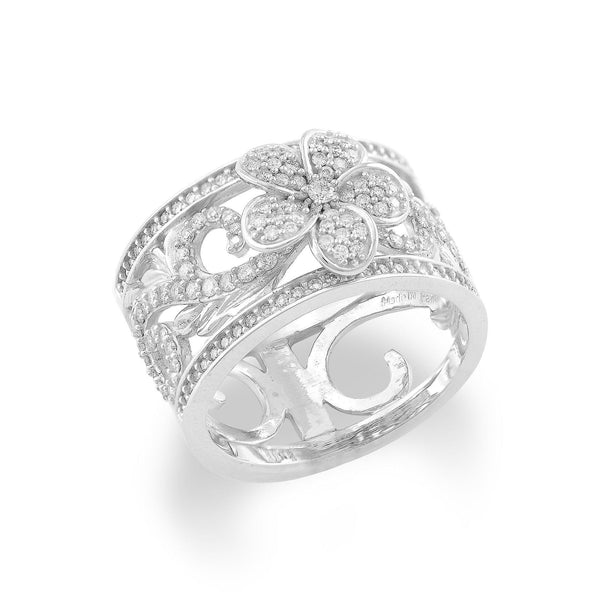 Hawaiian Heirloom Plumeria Pave Scroll 10mm Ring with Diamonds in 14K White Gold 074-00725