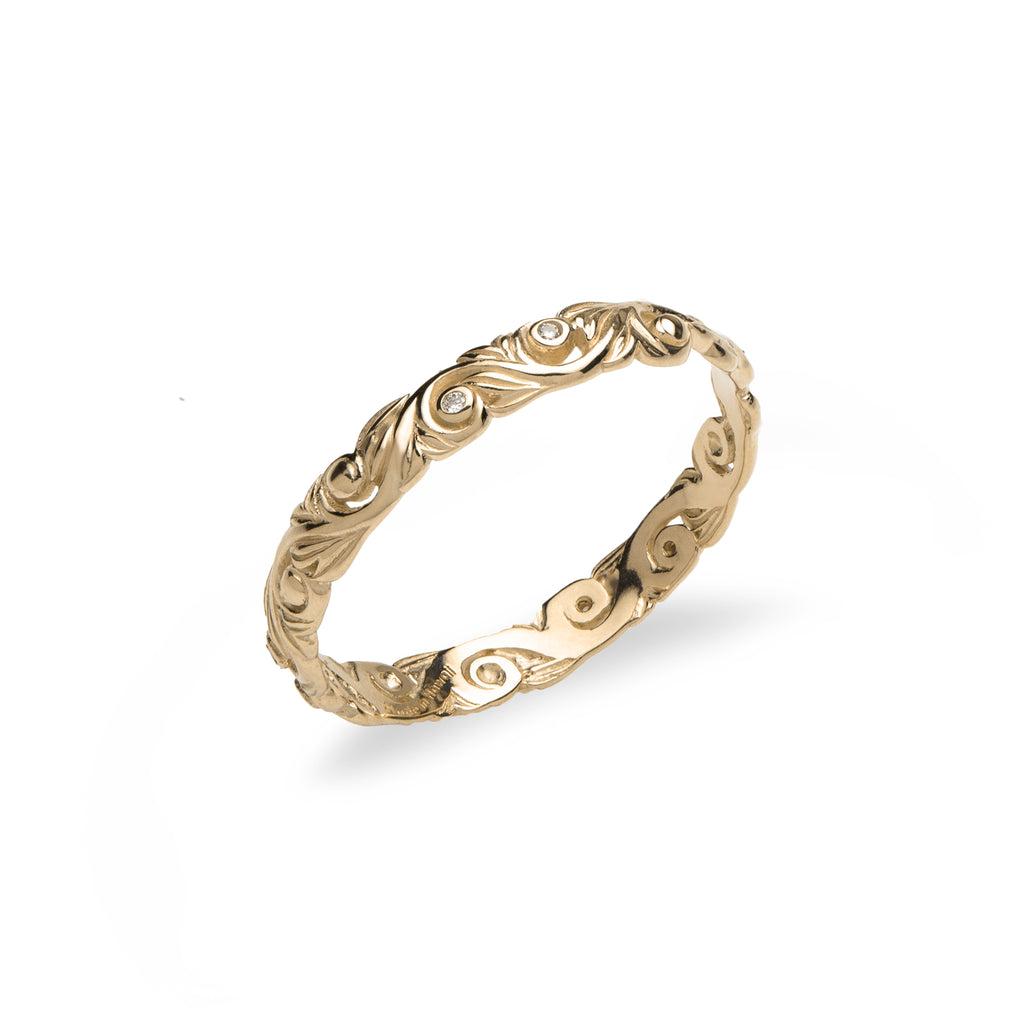 Living Heirloom Ring in Gold with Diamonds - 3mm-[SKU]