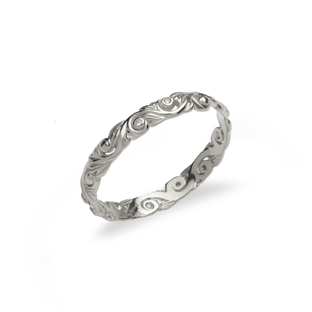 Hawaiian Heirloom 3mm Ring with Diamonds in 14K White Gold - Maui Divers Jewelry