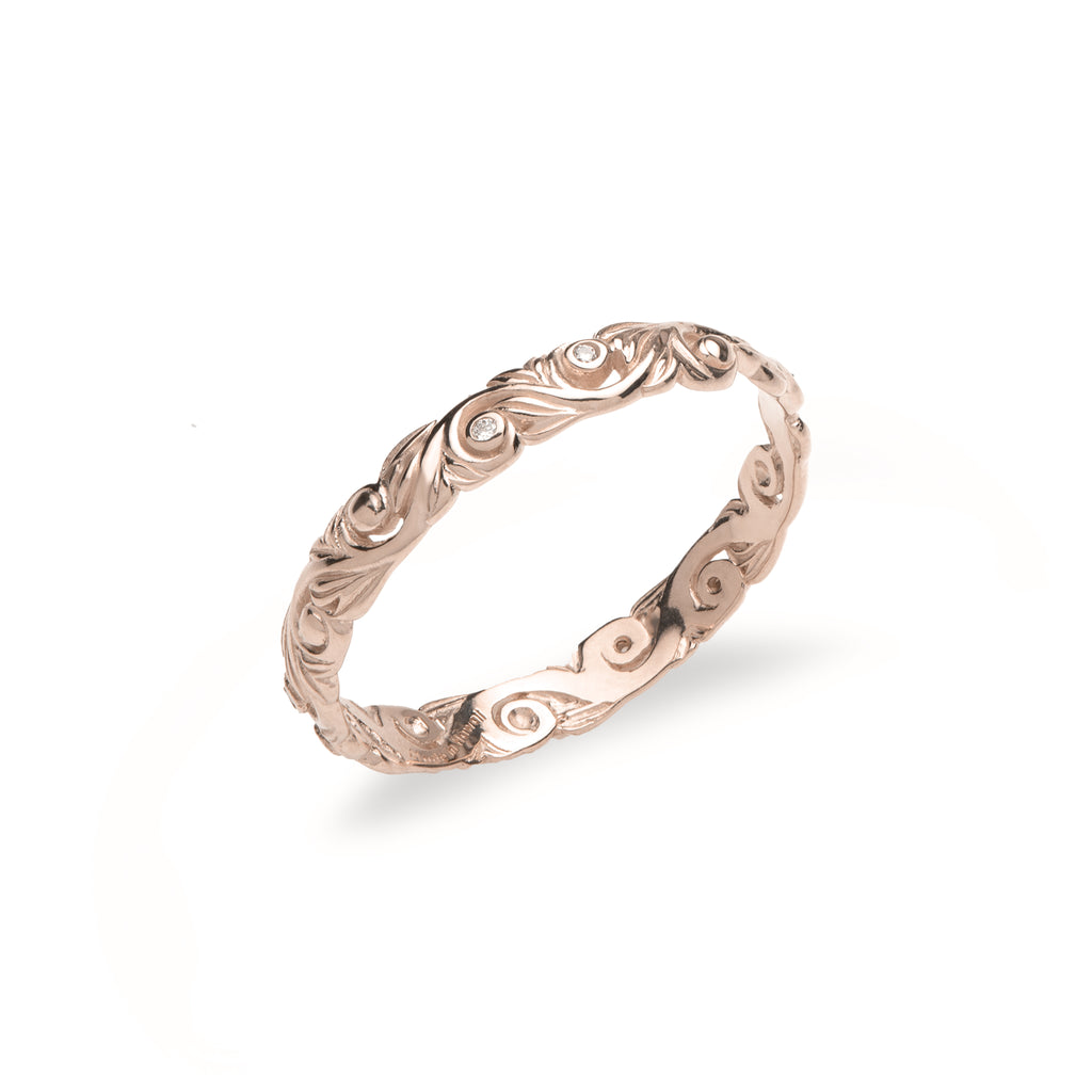 Living Heirloom Ring in Rose Gold with Diamonds - 3mm-[SKU]