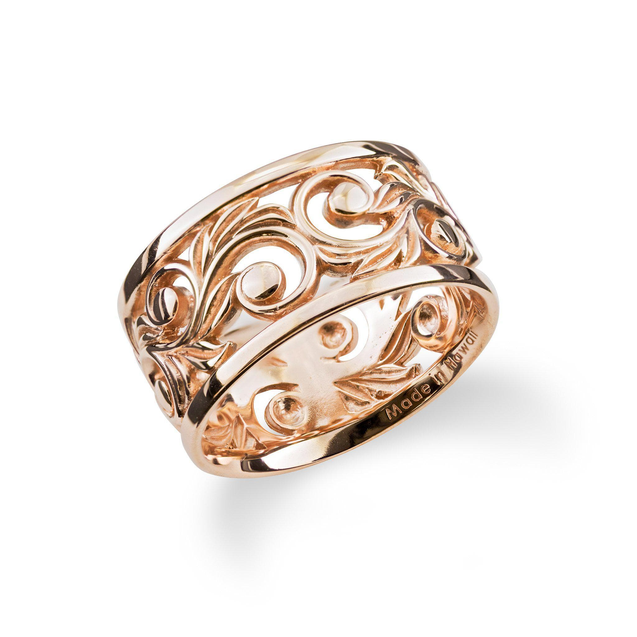 hawaiian heirloom scroll 10mm ring in 14k rose gold - Hawaiian Wedding Rings