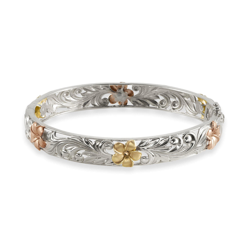 Hawaiian Heirloom Plumeria Scroll 10mm Heirloom Hinged Bracelet in 14K White, Yellow & Rose Gold