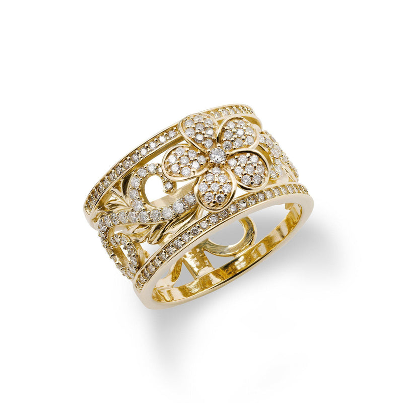 Hawaiian Heirloom Ring in Gold with Diamonds - 12mm-[SKU]