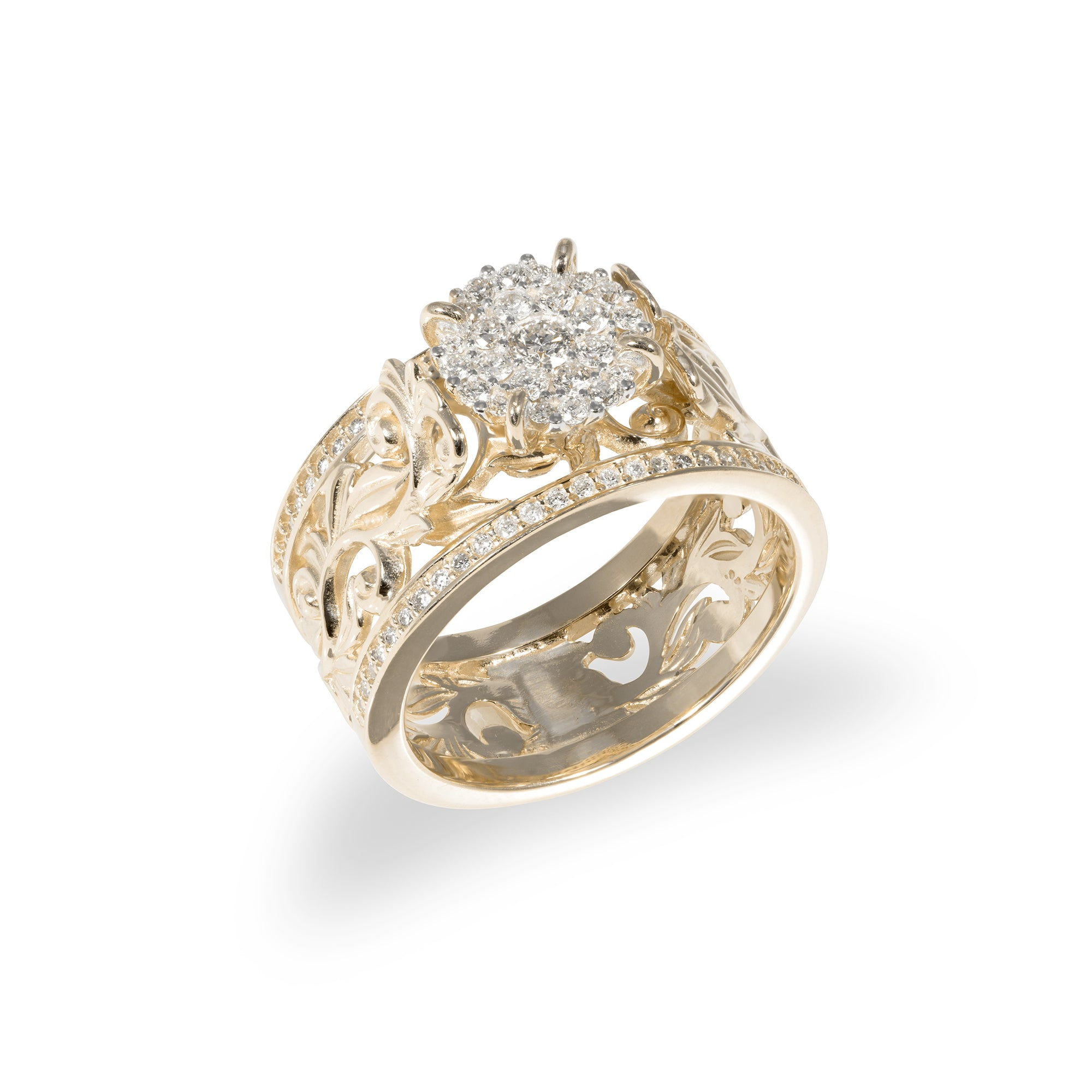 Living Heirloom Engagement Ring in Gold with Diamonds - 10mm-[SKU]