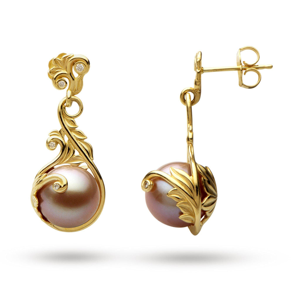 Hawaiian Heirloom Freshwater Pearl Earrings with Diamonds in 14K Yellow Gold (9-10mm)-[SKU]