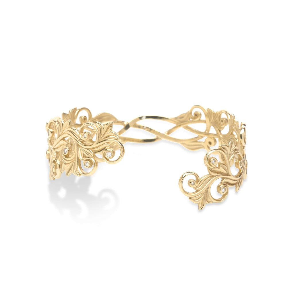 Living Heirloom Bracelet with Diamonds in 14K Yellow Gold - Maui Divers Jewelry