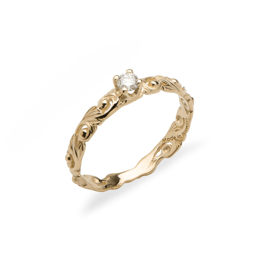 Hawaiian Heirloom 3mm Ring with Diamonds in 14K Yellow Gold