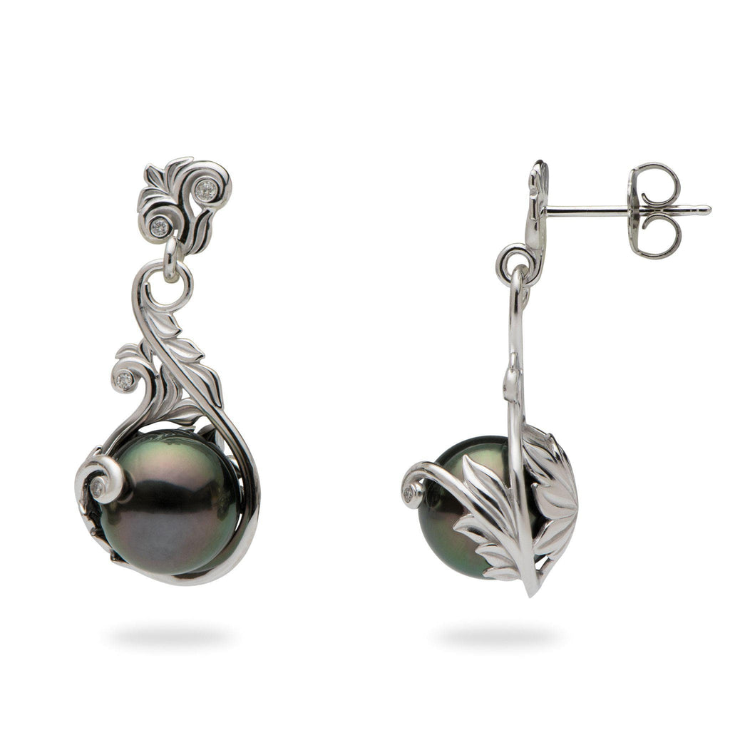 Hawaiian Heirloom Tahitian Black Pearl Earrings with Diamonds in 14K White Gold (9-10mm)-[SKU]
