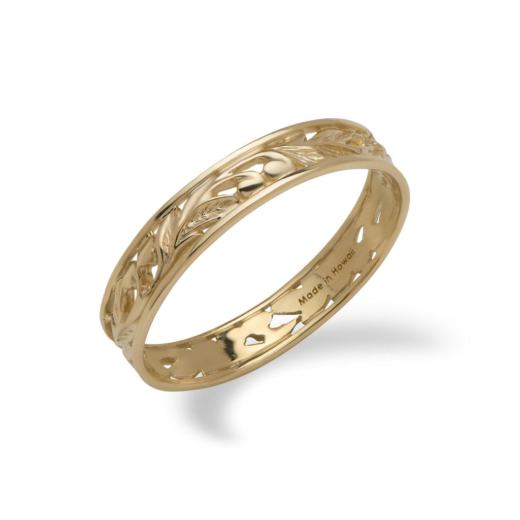 Hawaiian Heirloom Maile Leaf Ring in 14K Yellow Gold