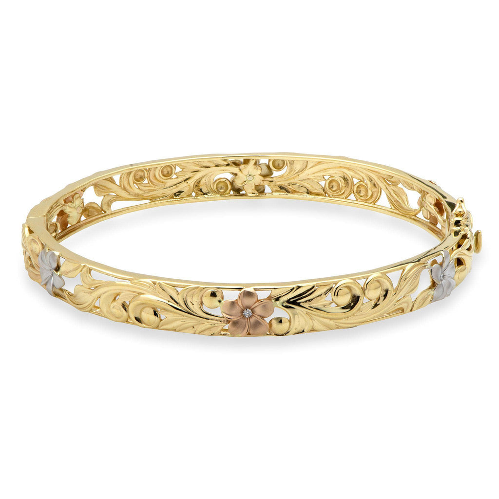 Hawaiian Heirloom Plumeria Scroll 8mm Heirloom Hinged Bracelet with Diamonds in 14K Yellow, White & Rose Gold