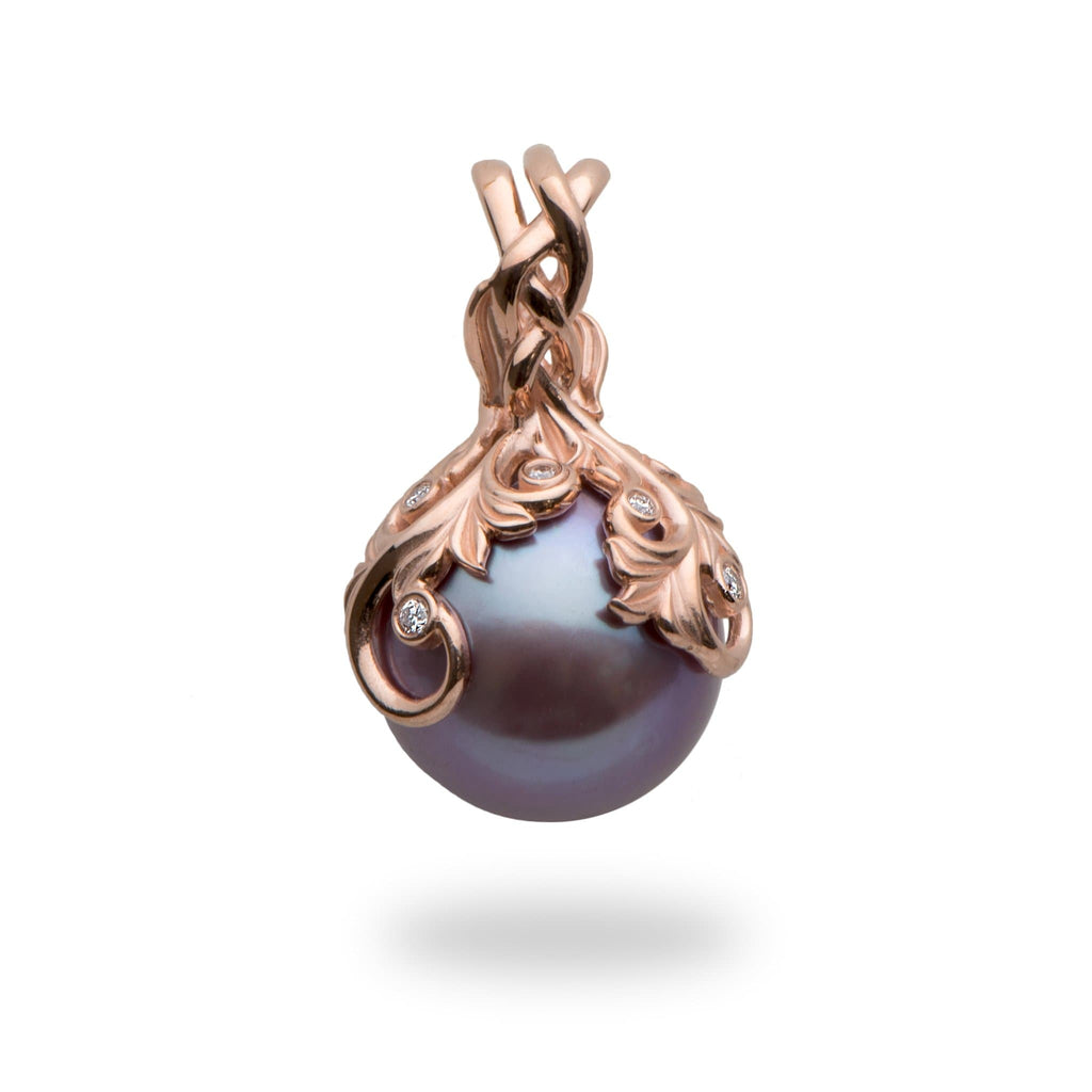 Living Heirloom Ultra Violet Pearl Pendant with Diamonds in 14K Rose Gold (12-13mm) - Maui Divers Jewelry