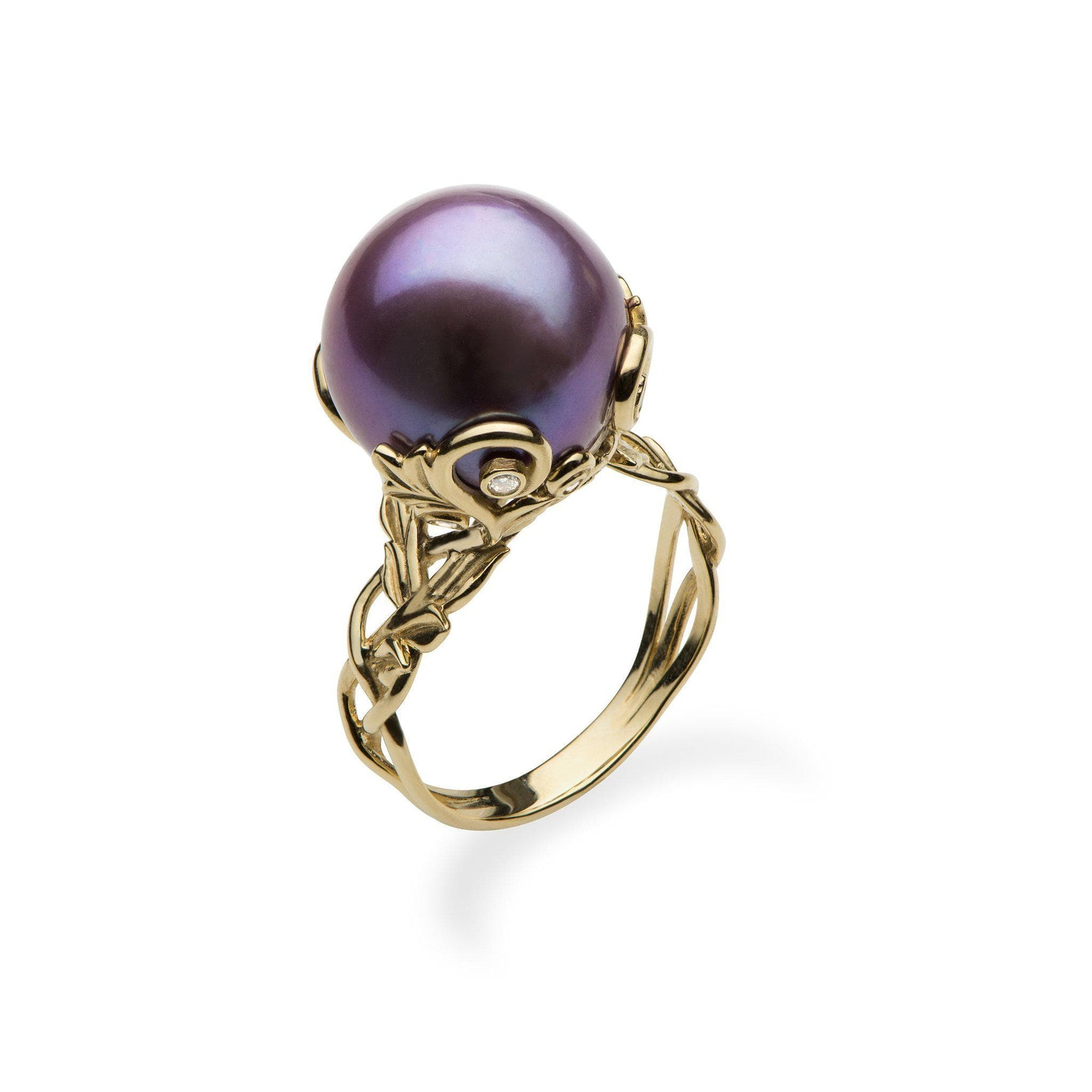 Ultraviolet purple pearl ring with diamonds
