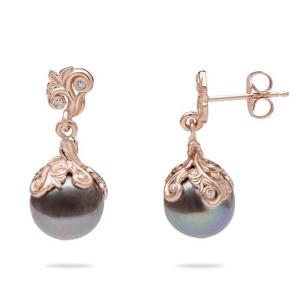Living Heirloom Freshwater Pearl Earrings in Rose Gold with Diamonds - 21mm-Maui Divers Jewelry